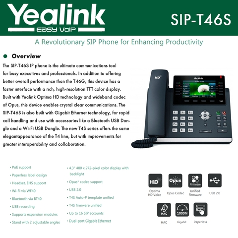 Yealink IPPhone SIP-T46S 16 VoIP Accounts HD Technology