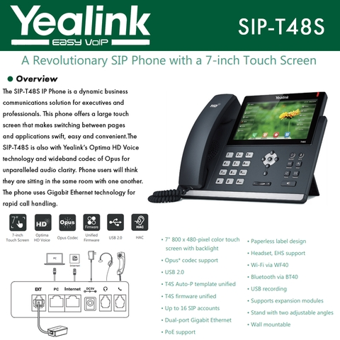 Yealink IP Phone SIP-T48S 16 SIP accounts HD Voice PoE Support