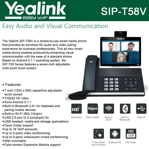 Yealink IP Phone SIP-T58V 16-Lines HD Voice, Opus Codec, Built-in
