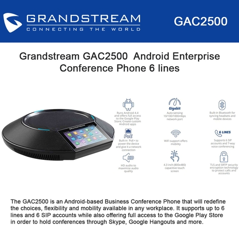 Grandstream Android Enterprise Conference Phone GAC2500 6 lines