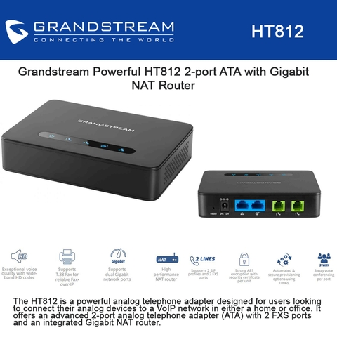 Grandstream HT812 2 Port ATA With Gigabit NAT Router Supports SIP Profiles Through FXS Ports And Dual