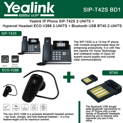 Yealink IP Phone SIP-T42S 2PACK + Bluetooth USB Dongle 2PACK BT40 +