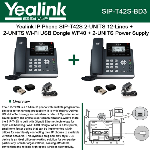 Yealink IP Phone SIP-T42S 2-UNITS 12Line + 2-UNITS Wi-Fi