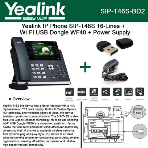 Yealink IP Phone SIP-T46S 16Line HD Voice + Wi-Fi USB Dongle