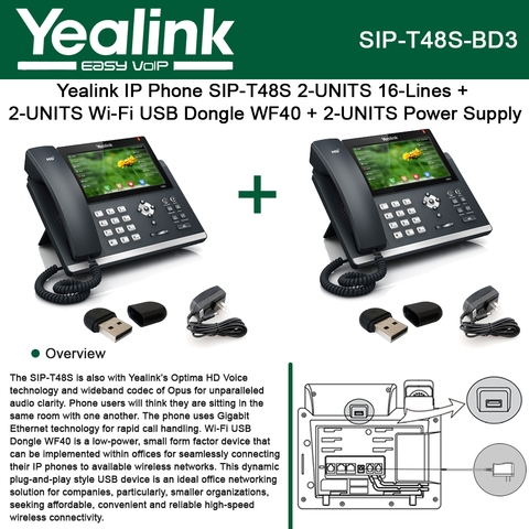 Yealink IP Phone SIP-T48S 2PACK 16Line + 2PACK Wi-Fi USB