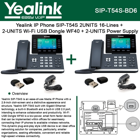 Yealink IP Phone SIP-T54S 2PACK 16-Lines + 2PACK Wi-Fi USB