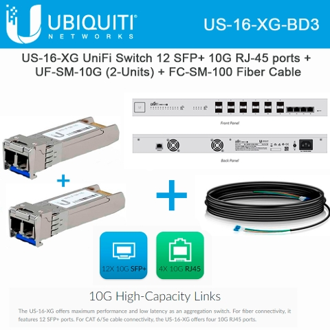 Ubiquiti Networks US-16-XG EdgeSwitch + UF-SM-10G 2 UNITS +
