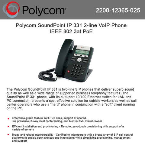 Polycom SoundPoint IP 331 2-line VoIP Phone IEEE 802 3af