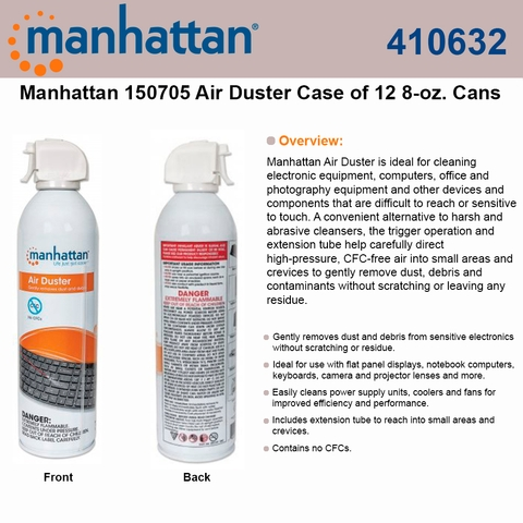 Manhattan Air Duster 410632 Case of 12 8-oz ideal for cleaning