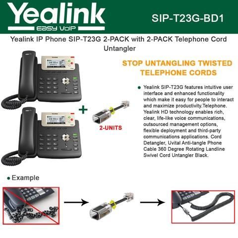Yealink SIP-T23G IP Phone 2PACK 3Line PoE with 2PACK