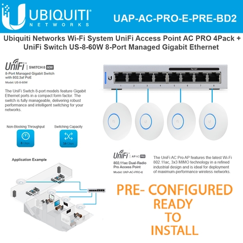 Ubiquiti UniFi Access Point UAP-AC-PRO-E 4-Pack and UniFi Switch US