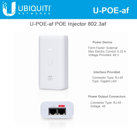 Ubiquiti Networks 802.3af Supported PoE Injector