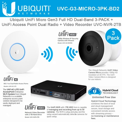 Ubiquiti UniFi Camera UVC-G3-MICRO 3Pack with Video Recorder