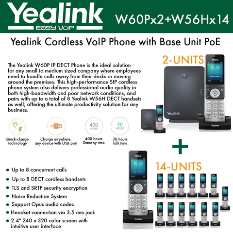 Yealink IP Phone W60P (2-UNITS) is a bundle of W60B base and