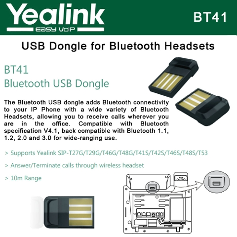 Yealink BT41 USB Dongle Bluetooth V4 1 for IP Phone with 10M