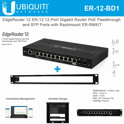 Ubiquiti EdgeRouter 12 ER-12 12-Port Gigabit Router PoE