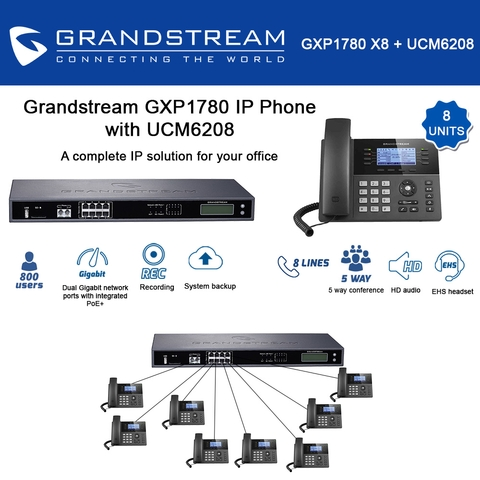 Grandstream GXP1780 8-units Mid-range HD IP Phone 8 Line with