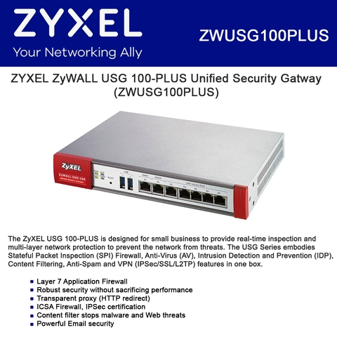ZYXEL ZyWALL USG 100-PLUS Network Security Appliance Number