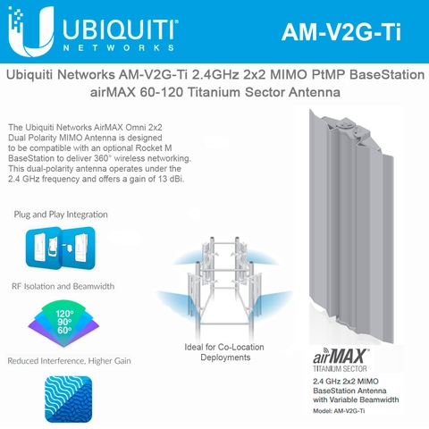 Ubiquiti Networks airMAX Sector Antenna AM-V2G-Ti 2 4GHz 2x2 MIMO