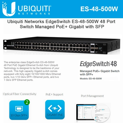 Ubiquiti Networks EdgeSwitch ES-48-500W 48 Port Managed PoE+