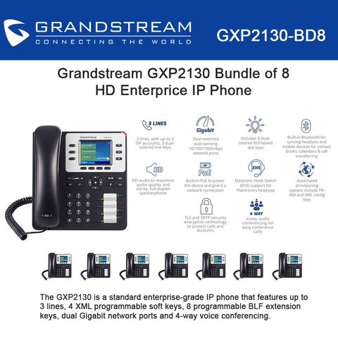 Grandstream Enterprise IP phone HD audio 8-PACK GXP2130 HD 3